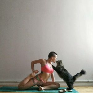 Yoga with cat :)